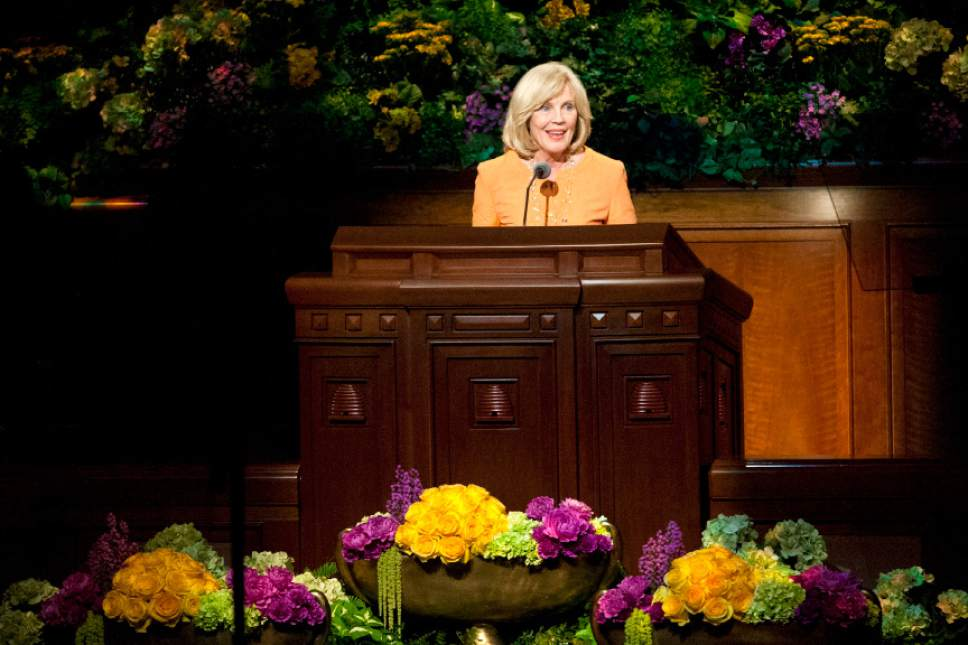Chris Detrick  |  The Salt Lake Tribune Elaine S. Dalton, Young Women General President, speaks during the morning session of the 183rd Semiannual General Conference of The Church of Jesus Christ of Latter-day Saints Saturday April 6, 2013.