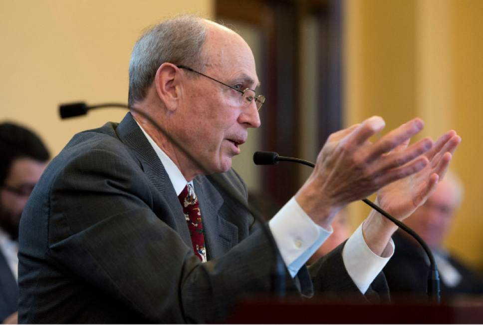 Steve Griffin  |  The Salt Lake Tribune   Rep. Merrill Nelson, R-Grantsville explains HB93 during the Senate Judiciary Law Enforcement and Criminal Justice Standing Committee at the State Capitol in Salt Lake City Monday February 27, 2017. HB93 amends provisions related to the judicial nominating process.