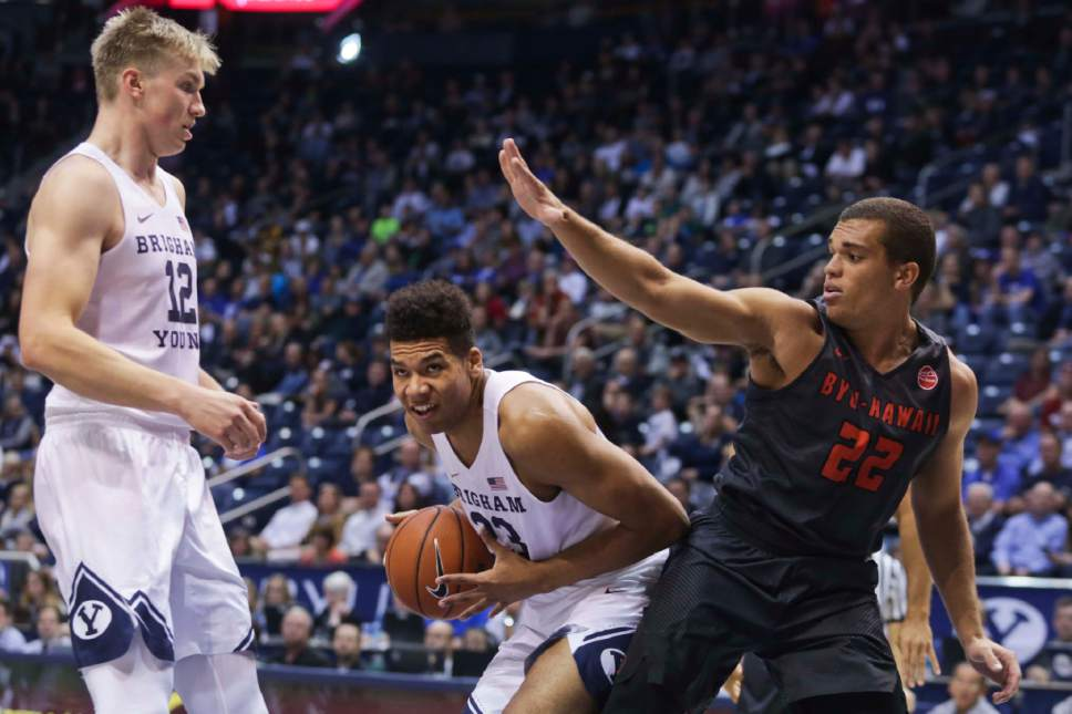 BYU forward Yoeli Childs (23) goes to the basket against BYU-Hawaii during a college basketball exhibition game Wednesday, Nov. 9, 2016, in Provo, Utah. (Dominic Valente/Daily Herald via AP)