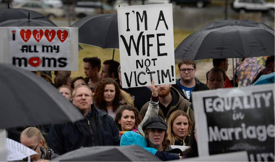 Scott Sommerdorf      The Salt Lake Tribune   Polygamists and their supporters rally on the south steps of the Capitol building, Friday, February 10, 2017.