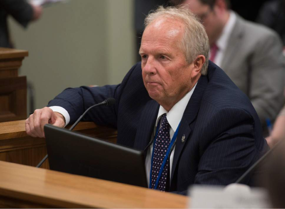 Steve Griffin / The Salt Lake Tribune  Rep. Mike Noel, R-Kanab, present HB99 to members of the House Judiciary Standing Committee in the House Building Room 20 on Capitol Hill in Salt Lake City Wednesday February 1, 2017.  HB99 clarifies polygamy is a felony in Utah.