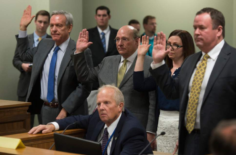 Steve Griffin / The Salt Lake Tribune  Rep. Mike Noel, R-Kanab, center front, sponsor of HB99, has his witnesses sworn in as he presents the bill the clarifies polygamy is a felony in Utah, to members of the House Judiciary Standing Committee in the House Building Room 20 on Capitol Hill in Salt Lake City Wednesday February 1, 2017.