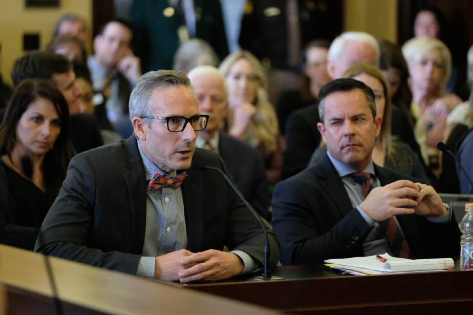 Francisco Kjolseth | The Salt Lake Tribune Tim Ryan, owner of Bout Time Pub & Grub, expresses concern over possibly going out of business due to HB442, which modifies provisions related to the regulation of alcohol in the state. The bill is sponsored by Rep. Brad Wilson, R-Kaysville, right, discussed during the House Business and Labor Standing Committee at the State Capitol in Salt Lake City on Wednesday, March 1, 2017.