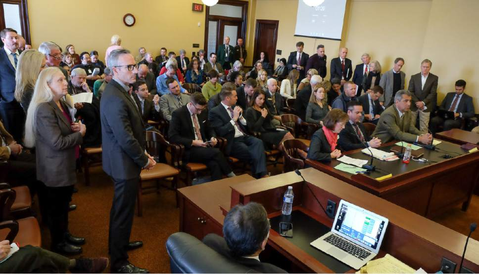 Francisco Kjolseth | The Salt Lake Tribune Numerous people in favor and opposed to modifications to the regulation of alcohol in the state prepare to speak as Rep. Brad Wilson, R-Kaysville, sponsor of HB442 appears before the House Business and Labor Standing Committee at the State Capitol in Salt Lake City on Wednesday, March 1, 2017.