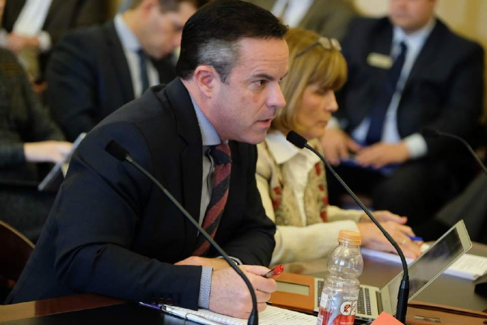 Francisco Kjolseth | The Salt Lake Tribune Rep. Brad Wilson, R-Kaysville, presented HB442, a massive alcohol reform bill, to the House Business and Labor Standing Committee at the State Capitol in Salt Lake City Wednesday, March 1, 2017.