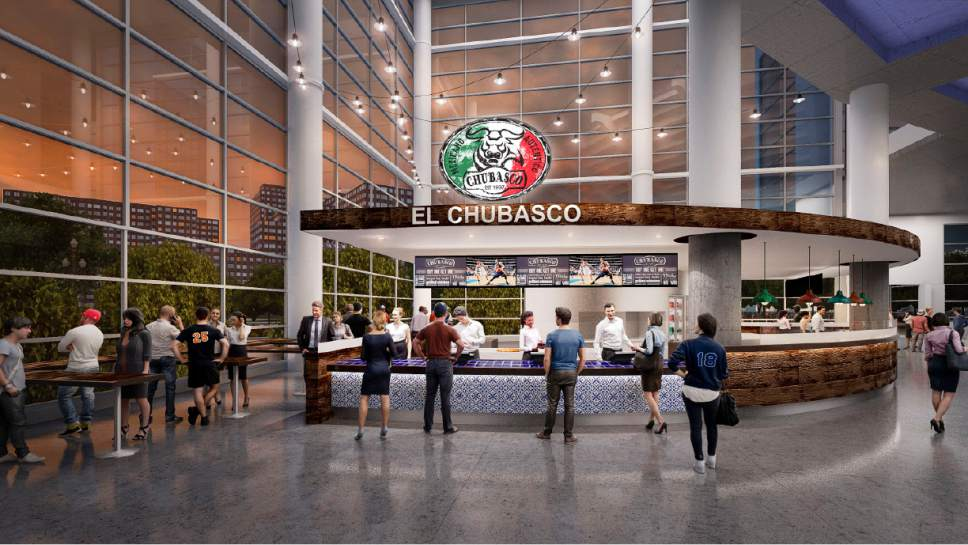 After a $125-million remodel is complete this fall, the Vivint Smart Home Arena's main concourse will feature four Utah eateries, including R&R Barbecue, Maxwell's, El Chubasco and Cubby's. The artist renderings give fans an idea what they dining options will look like. Courtesy  |  Larry H. Miller Sports and Entertainment