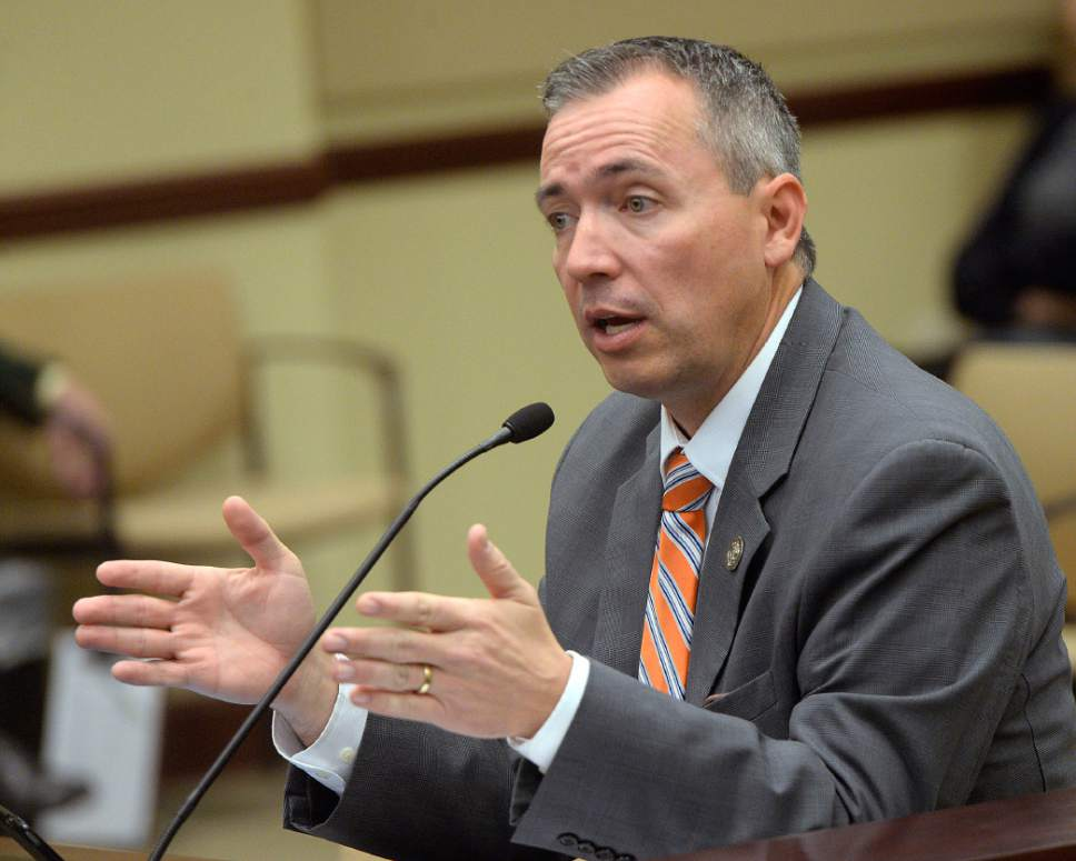 Al Hartmann  |  The Salt Lake Tribune Rep. Daniel McCay, R-Riverton speaks to the House Government Operations Committee Thursday March 2 on SB114, which would set rules and dates for political candidates to gather signatures for elective office.