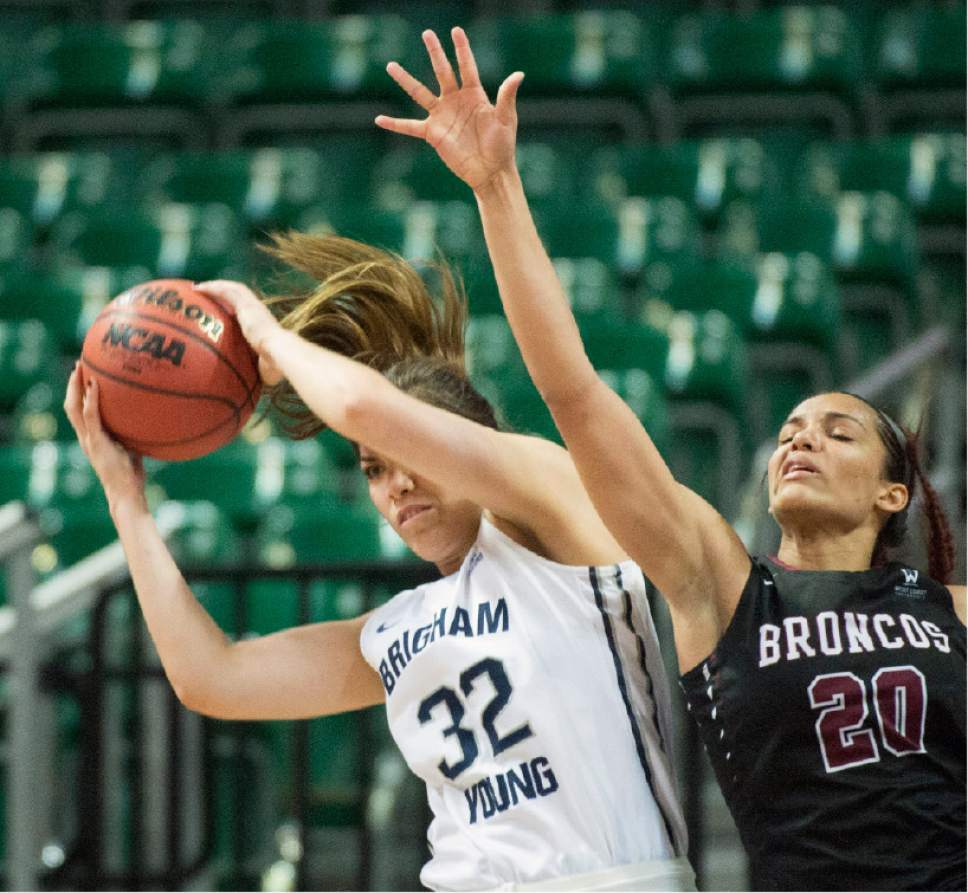 Rick Egan  |  The Salt Lake Tribune  Brigham Young Cougars forward Kalani Purcell (32) grabs a rebound from Santa Clara Broncos forward Lori Parkinson (20), in basketball action in the West Coast Conference Semifinals, at the Orleans Arena in Las Vegas, Saturday, March 7, 2016.