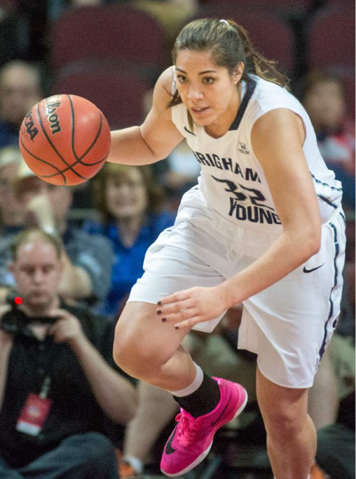 Rick Egan  |  The Salt Lake Tribune  Brigham Young forward Kalani Purcell (32) leads a fast break after stealing the ball for the Cougars,  in basketball action in the West Coast Conference Semifinals, at the Orleans Arena in Las Vegas, Saturday, March 7, 2016.