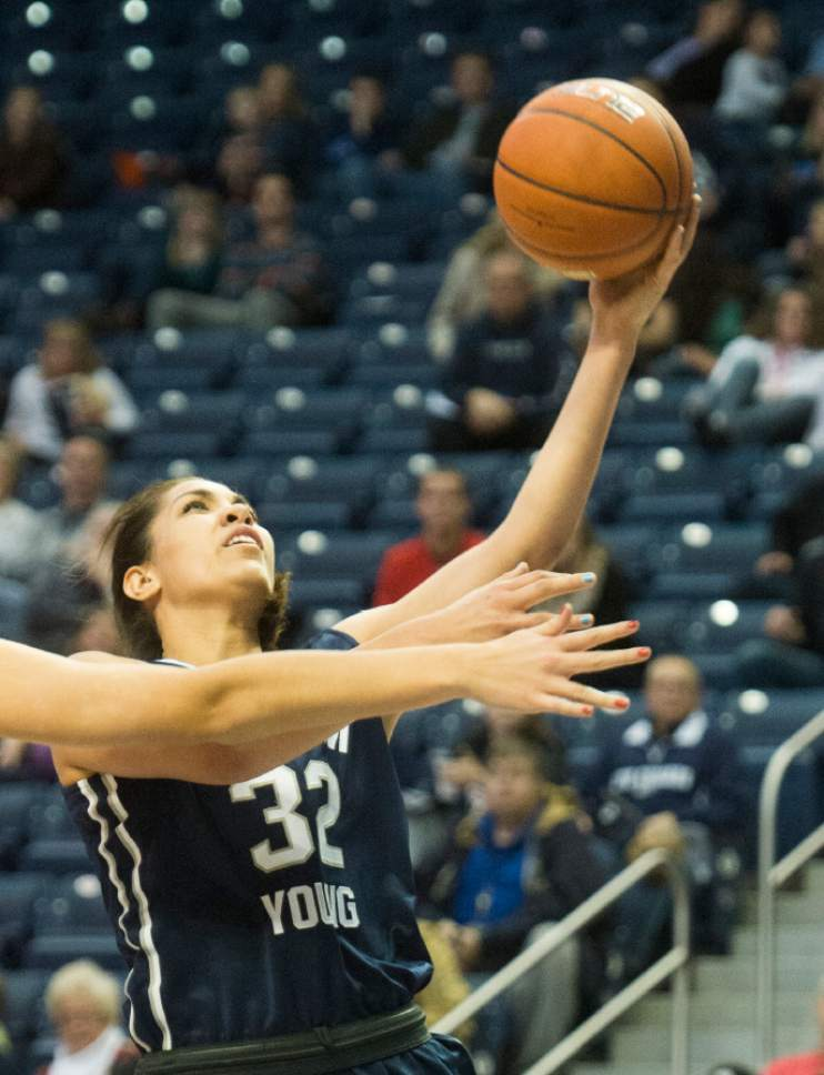 Rick Egan  |  The Salt Lake Tribune  Brigham Young forward Kalani Purcell (32) scores for the Cougars, in basketball action, BYU vs. Utah, in the Marriott Center, Saturday, December 12, 2015. Rydalch lead all scorers with 29 points.