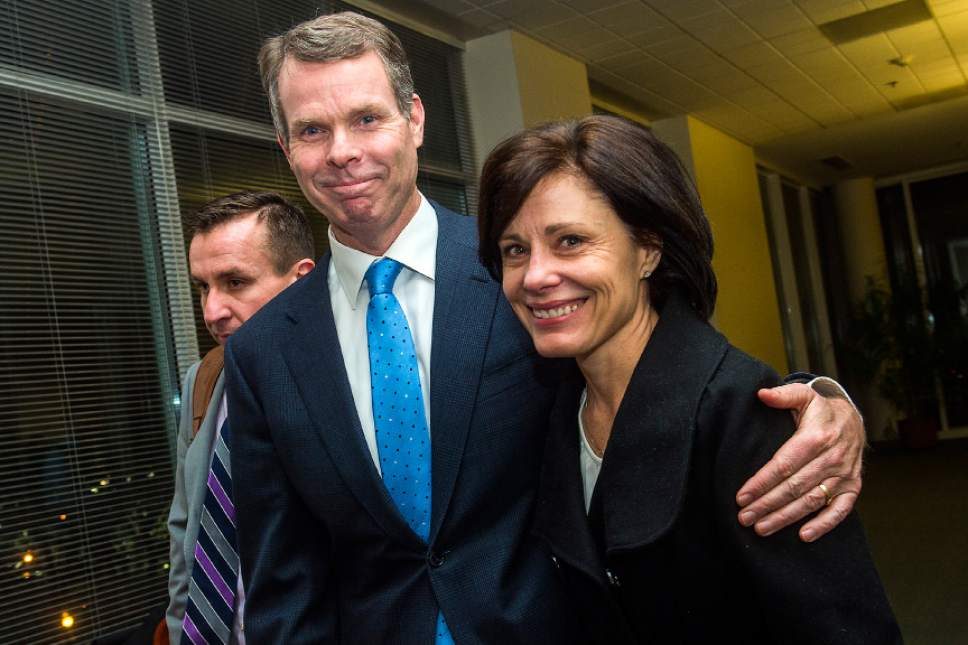 Chris Detrick  |  The Salt Lake Tribune Former Utah Attorney General John Swallow and his wife Suzanne leave the courtroom after his trial Thursday. Jurors found former Utah Attorney General John Swallow not guilty of all counts.