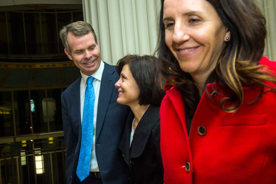 Chris Detrick  |  The Salt Lake Tribune Former Utah Attorney General John Swallow, his wife Suzanne Swallow and defense attorney Cara Tangaro leave the courtroom after his trial Thursday March 2, 2017. Jurors found former Utah Attorney General John Swallow not guilty of all counts.