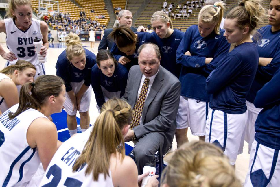 BYU Women's Basketball head coach Jeff Judkins during a timeout against Pepperdine.  11-12wBKB vs Pepperdine 0489.CR2  11-12wBKB vs Pepperdine  BYU-80 Pepperdine-56  BYU Coach Jeff Judkins becomes BYU's all time leader for wins as a Women's Basketball Coach.  January 12, 2012  Photo by Jaren Wilkey/BYU  © BYU PHOTO 2011 All Rights Reserved photo@byu.edu  (801)422-7322