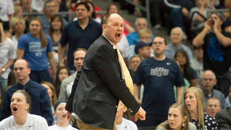 Rick Egan  |  The Salt Lake Tribune  Brigham Young Cougars head coach Jeff Judkins reacts after a call by the official in the West Coast Conference Basketball Championships at the Orleans Arena in Las Vegas, Monday, March 9, 2015.