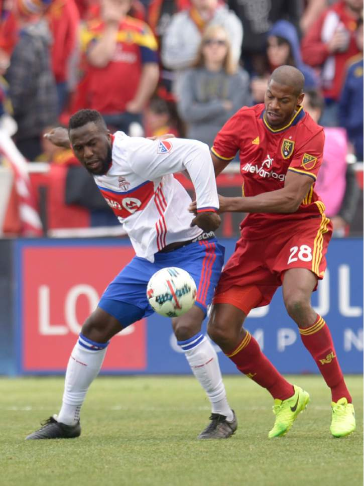 Leah Hogsten  |  The Salt Lake Tribune Toronto FC forward Jozy Altidore (17) ad Real Salt Lake defender Chris Schuler (28) battled each other for the majority of the game. Real Salt Lake tied the 2017 season home opener with Toronto FC, 0-0, Saturday, March 4, 2017 at Rio Tinto Stadium.