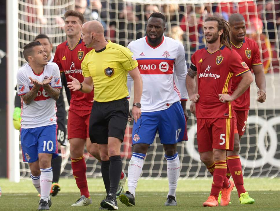 Leah Hogsten  |  The Salt Lake Tribune Toronto FC forward Sebastian Giovinco (10) argues with the referee over a play. Real Salt Lake tied the 2017 season home opener with Toronto FC, 0-0, Saturday, March 4, 2017 at Rio Tinto Stadium.