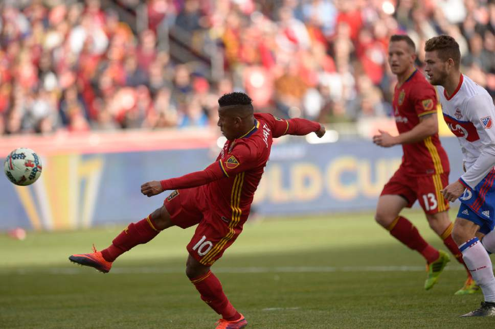 Leah Hogsten  |  The Salt Lake Tribune Real Salt Lake forward Joao Plata's (10) chance for a chip at goal goes over the net in the second half. Real Salt Lake tied the 2017 season home opener with Toronto FC, 0-0, Saturday, March 4, 2017 at Rio Tinto Stadium.