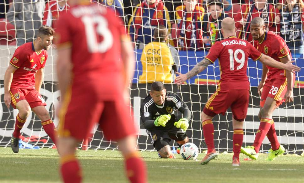 Leah Hogsten  |  The Salt Lake Tribune Real Salt Lake goalkeeper Nick Rimando (18) makes a save in the second half. Real Salt Lake tied the 2017 season home opener with Toronto FC, 0-0, Saturday, March 4, 2017 at Rio Tinto Stadium.