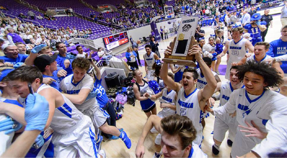 Trent Nelson  |  The Salt Lake Tribune Bingham players and fans celebrate their win over Lone Peak in the 5A state high school basketball championship game, Saturday March 4, 2017.