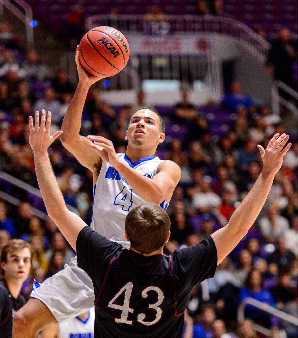 Trent Nelson  |  The Salt Lake Tribune Bingham's Dason Youngblood (4) shoots over Lone Peak's Braden Bromley (43) as Bingham faces Lone Peak in the 5A state high school basketball championship game, Saturday March 4, 2017.