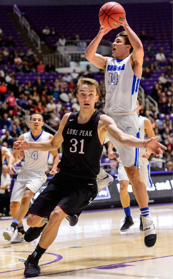 Trent Nelson  |  The Salt Lake Tribune Bingham's Brayden Cosper (14) shoots, with Lone Peak's Maxwell McGrath (31) defending, as Bingham faces Lone Peak in the 5A state high school basketball championship game, Saturday March 4, 2017.