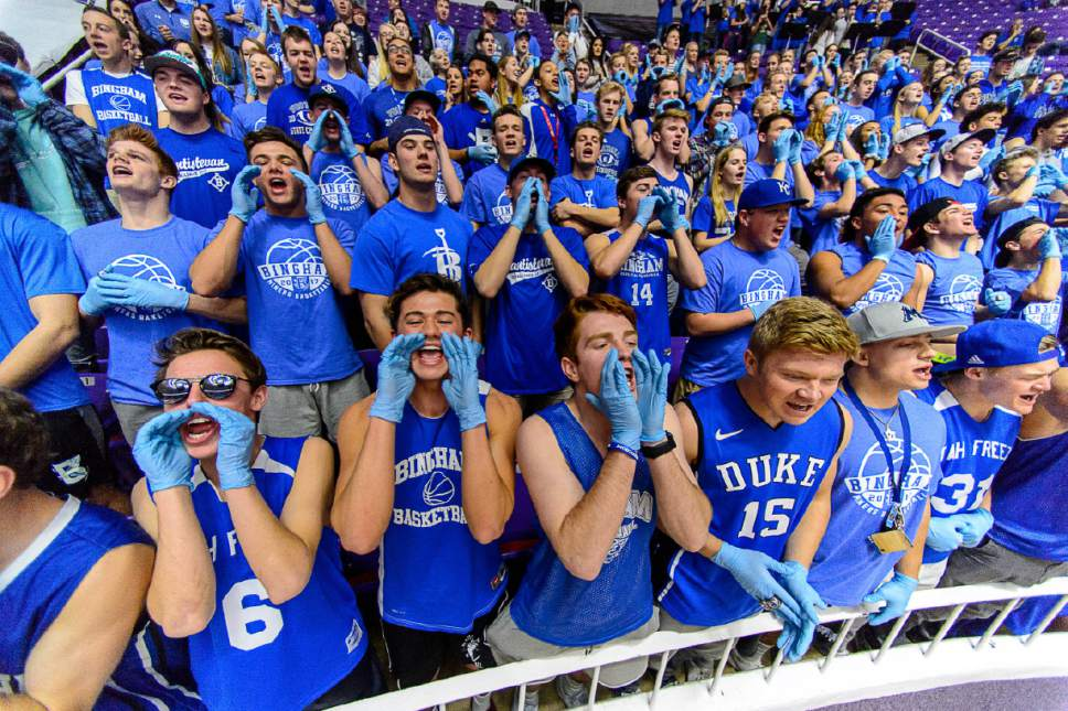 Trent Nelson  |  The Salt Lake Tribune Bingham fans cheer on their team pre-game as Bingham faces Lone Peak in the 5A state high school basketball championship game, Saturday March 4, 2017.
