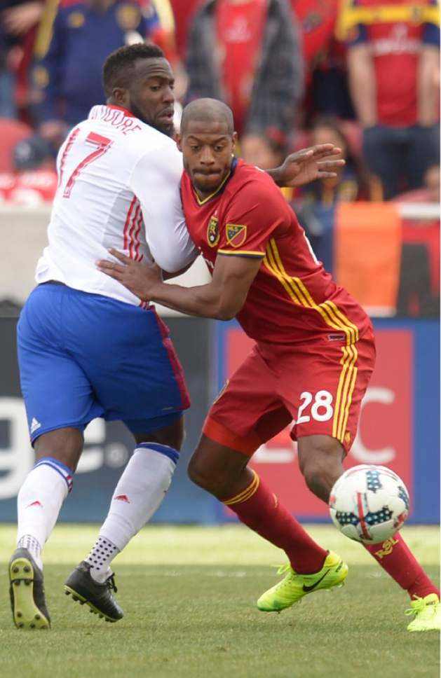 Leah Hogsten     The Salt Lake Tribune Toronto FC forward Jozy Altidore (17) ad Real Salt Lake defender Chris Schuler (28) battled each other for the majority of the game. Real Salt Lake tied the 2017 season home opener with Toronto FC, 0-0, Saturday, March 4, 2017 at Rio Tinto Stadium.