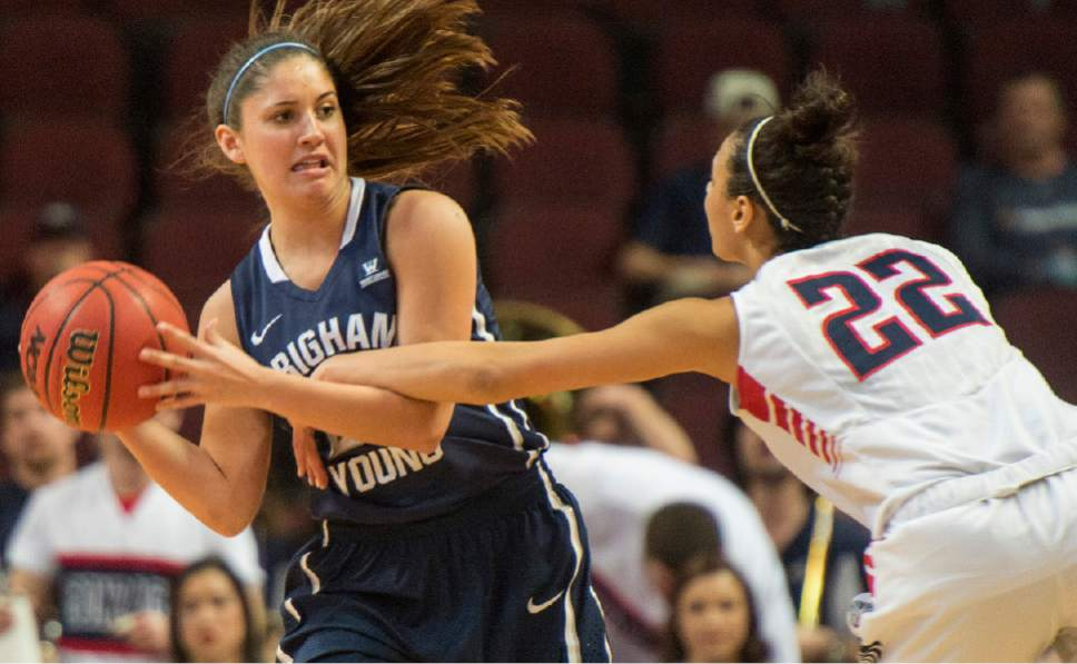 Rick Egan  |  The Salt Lake Tribune  Gonzaga Bulldogs forward Shaniqua Nilles (22) grabs the arm of Brigham Young Cougars guard Cassie Broadhead (20) in the West Coast Conference Basketball Championships, at the Orleans Arena, in Las Vegas,  Monday, March 9, 2015