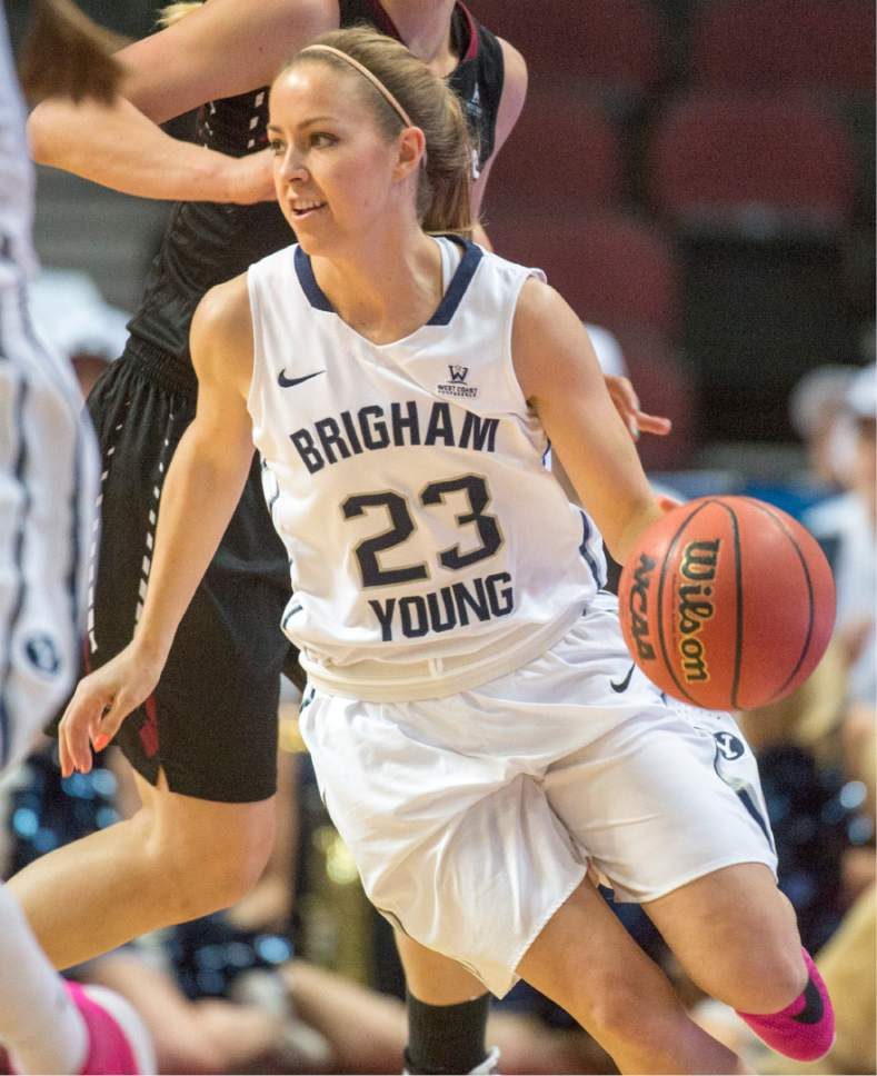 Rick Egan  |  The Salt Lake Tribune  Brigham Young Cougars guard Makenzi Morrison Pulsipher (23) brings the ball down for the Cougars, in basketball action in the West Coast Conference Semifinals, at the Orleans Arena in Las Vegas, Saturday, March 7, 2016.
