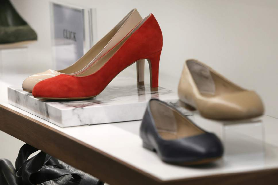 "High heels are on display in a store in London, Monday March 6, 2017. British lawmakers are due to debate banning mandatory high heels in the workplace on Monday, in response to a petition started by a receptionist who was sent home for wearing flat shoes. The debate is non-binding, but a committee of lawmakers has found that ""discriminatory dress codes"" are commonplace and called for urgent action. (AP Photo/Tim Ireland)"