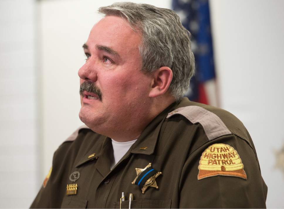 Leah Hogsten  |  Tribune file photo l-r Utah Highway Patrol Lt. Lee Perry addresses the media concerning the death of UHP Trooper Eric Ellsworth, age 32, who succumbed to his injuries Tuesday, November 22, 2016. In addition to his full-time job with the UHP, Perry is a state representative from the Box Elder County town of Perry.