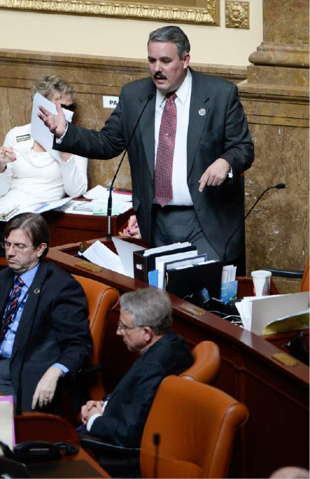 Francisco Kjolseth  |  Tribune file photo Rep. Lee Perry, R-Perry, sums up his presentation of a bill prior to voting in the Utah House of Representatives.