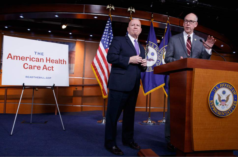 House Ways and Means Committee Chairman Rep. Kevin Brady, R-Texas, left, and House Energy and Commerce Committee Chairman Rep. Greg Walden, R-Ore., meet with reporters on Capitol Hill in Washington, Tuesday, March 7, 2017, as House Republicans introduce their plan to repeal and replace the Affordable Care Act. (AP Photo/J. Scott Applewhite)