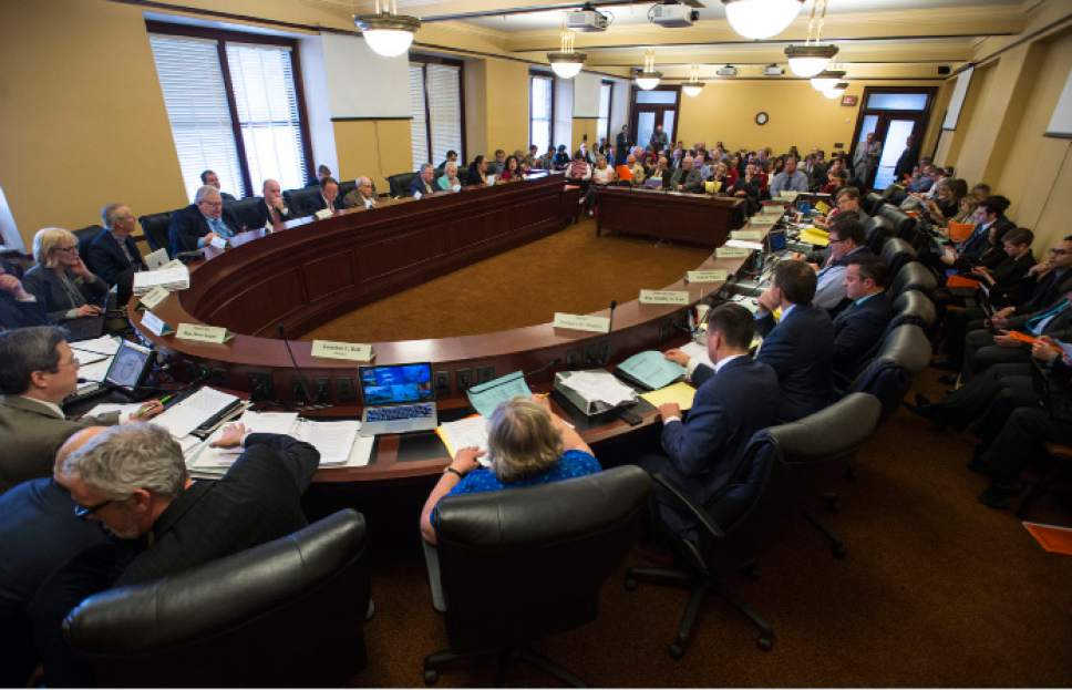 Steve Griffin     The Salt Lake Tribune   Legislators, staff members and the public fill a meeting room in the State Capitol as the Executive Appropriations Committee meets in Salt Lake City Friday March 3, 2017.
