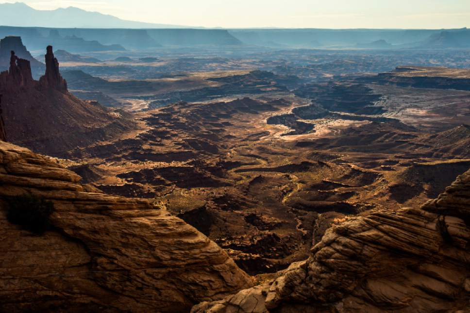 Chris Detrick  |  The Salt Lake Tribune The view from Mesa Arch in the Island in the Sky District at Canyonlands National Park.