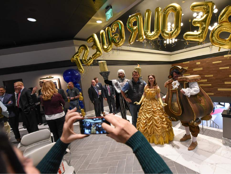 "Francisco Kjolseth | The Salt Lake Tribune Characters from ""Beauty and the Beast"" add to the celebration of the grand opening of the new Megaplex Luxury Theatres at Cottonwood, 1945 E. Murray Holladay Road."
