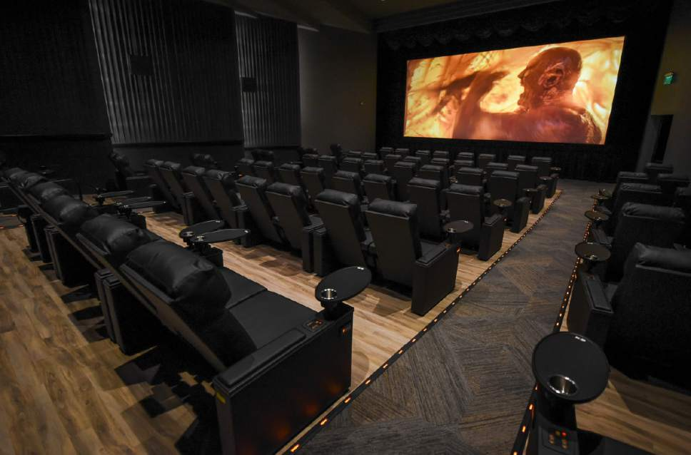 Francisco Kjolseth | The Salt Lake Tribune Megaplex Luxury Theatres at Cottonwood, 1945 E. Murray Holladay Road. opens  with a fresh remodel that includes reclining heated seats and a swiveling table on each chair.