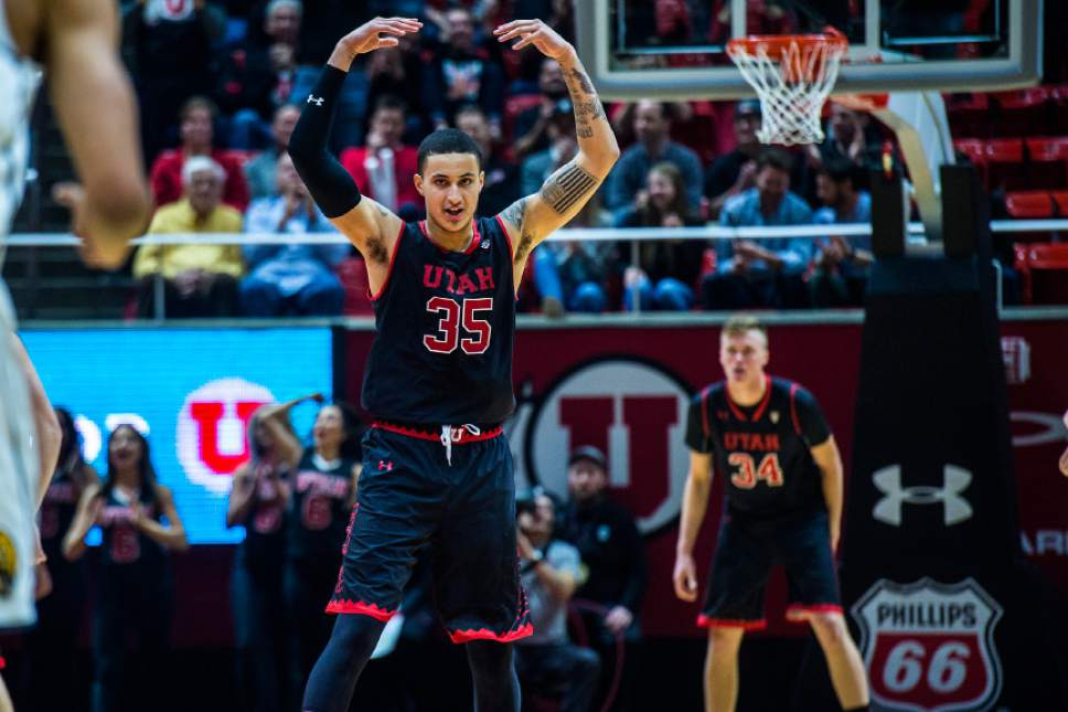Chris Detrick  |  The Salt Lake Tribune Utah Utes forward Kyle Kuzma (35) celebrates after a basket during the game at the Huntsman Center Thursday March 2, 2017.