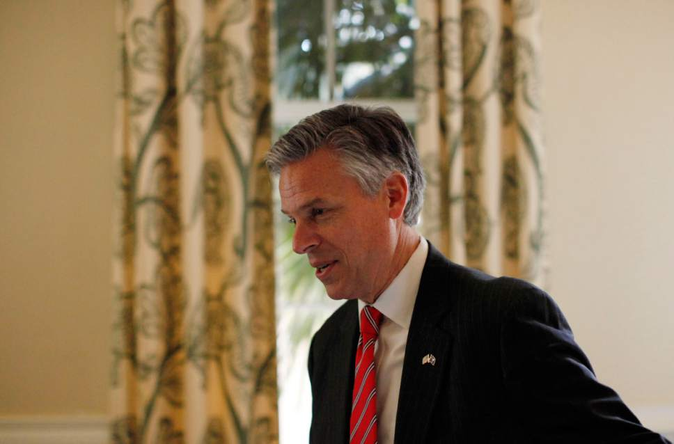 Republican presidential candidate and former Utah Gov. Jon Huntsman campaigns during an event at Virginia's on King restaurant, Sunday, Jan. 15, 2012, in Charleston, S.C. (AP Photo/Matt Rourke)