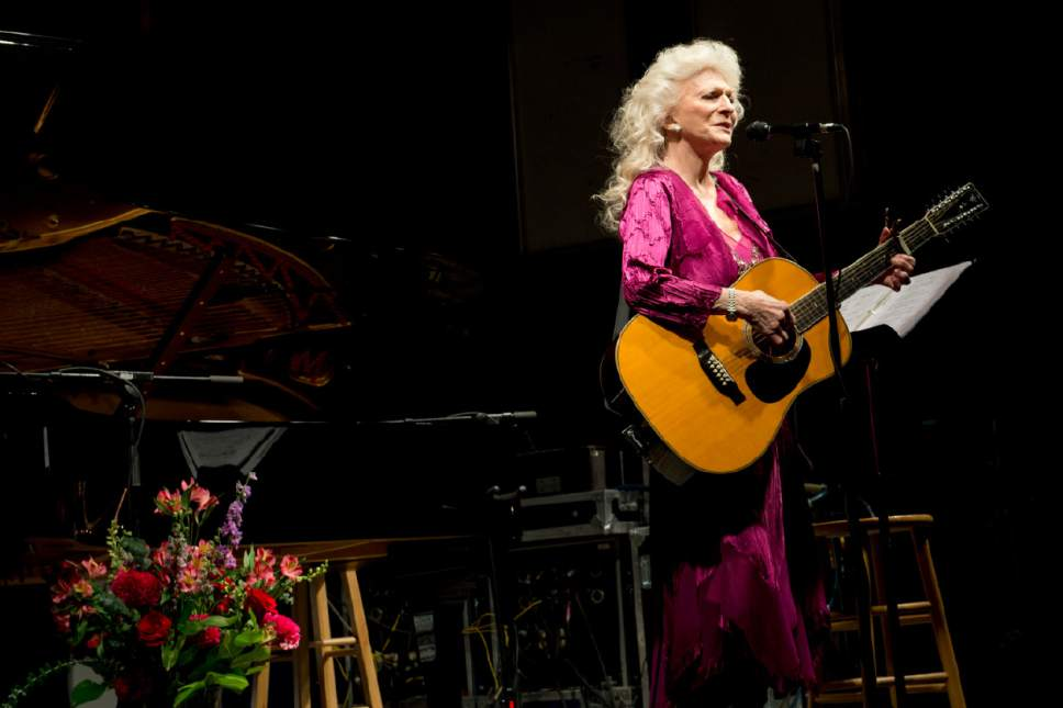 Jeremy Harmon  |  The Salt Lake Tribune  Judy Collins performs during the Joe Hill Centennial Celebration in Sugar House Park on Sept. 5, 2015.