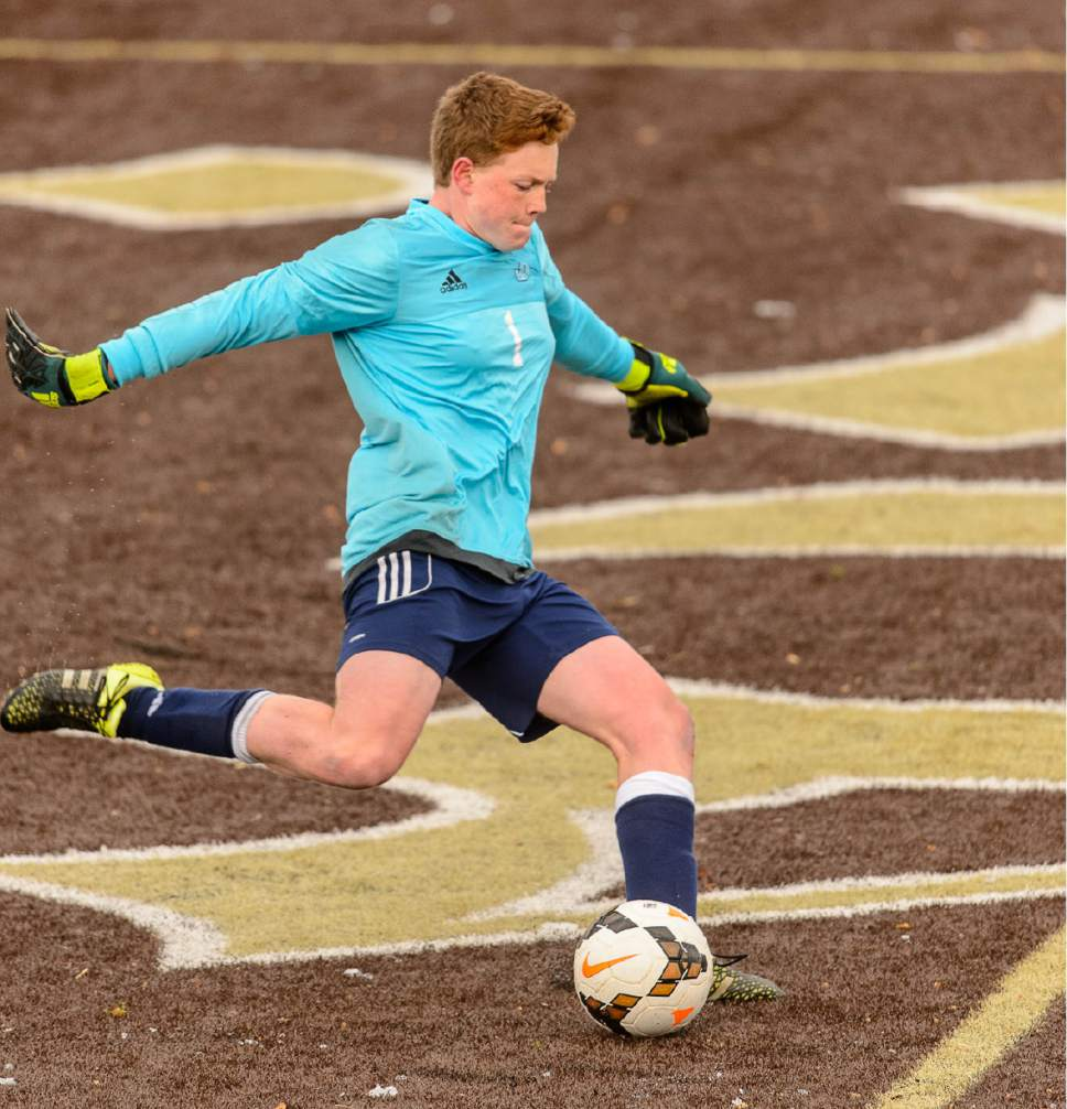 Trent Nelson  |  The Salt Lake Tribune Juan Diego goalkeeper Martin Kelly in action vs. Davis, high school soccer Monday March 6, 2017 in Kaysville.
