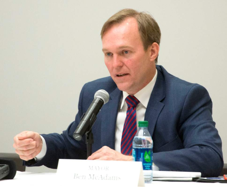 Rick Egan  |  The Salt Lake Tribune  Salt Lake County Mayor Ben McAdams makes a comment as part of a panel of state and community leaders as they discussed issues surrounding homelessness in Salt Lake County at Salt Lake Community College South City Campus, Monday, February 13, 2017.