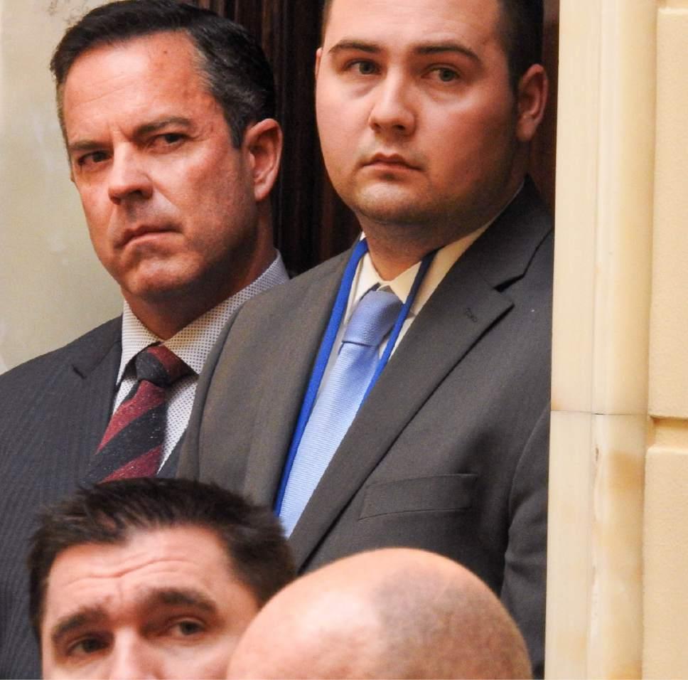 Trent Nelson     The Salt Lake Tribune Rep. Brad Wilson, R-Kaysville, listens as the Utah Senate debates, and passes, HB442, an alcohol bill Wednesday March 8, 2017 in Salt Lake City.