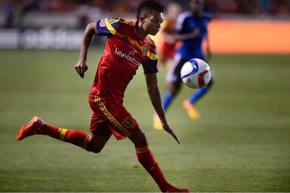 Scott Sommerdorf   |  The Salt Lake Tribune Real Salt Lake defender/midfielder Jordan Allen (7) races past San Jose Earthquakes midfielder Cordell Cato (7) on a first half rush to the San Jose goal. The San Jose Earthquakes led Real Salt Lake 1-0 at the half, Friday, May 1, 2015.