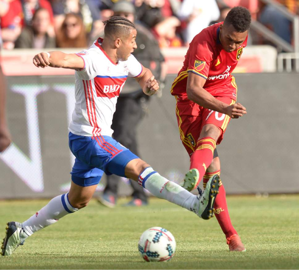 Leah Hogsten  |  The Salt Lake Tribune Real Salt Lake midfielder Jordan Allen (70) beats Toronto FC defender Justin Morrow (2) to the ball. Real Salt Lake tied the 2017 season home opener with Toronto FC, 0-0, Saturday, March 4, 2017 at Rio Tinto Stadium.