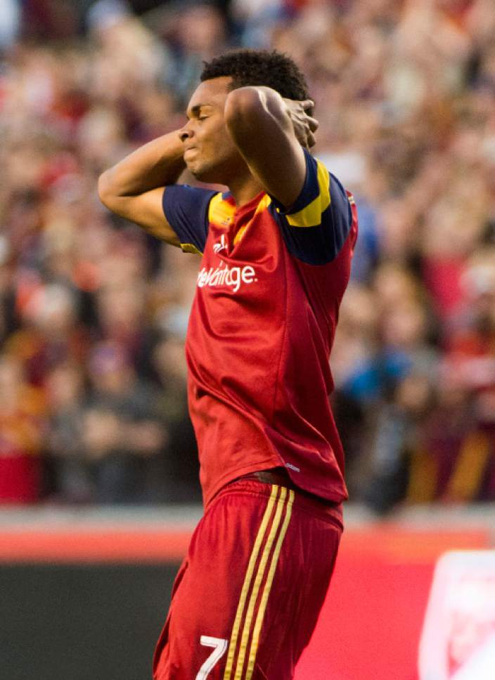 Rick Egan  |  The Salt Lake Tribune  Real Salt Lake defender/midfielder Jordan Allen (7) reacts after his shot was blocked by the goal keeper, in MLS action, Real Salt Lake vs. Vancouver, at Rio Tinto Stadium, Saturday, April 18, 2015.