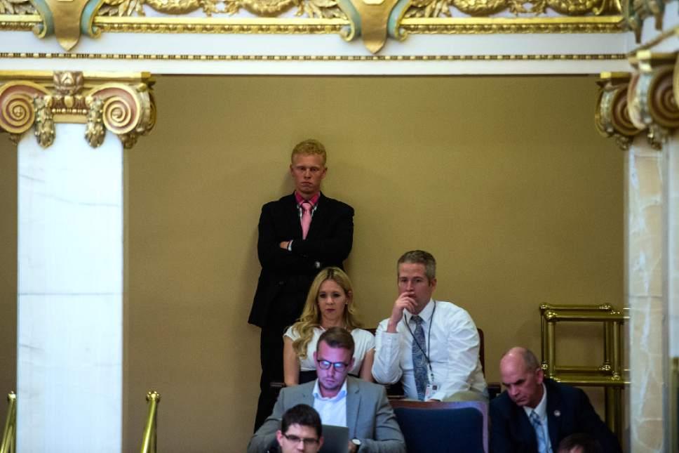 Chris Detrick  |  The Salt Lake Tribune Kyler Henderson listens during Senate Floor Time at the Utah State Capitol Thursday March 9, 2017.