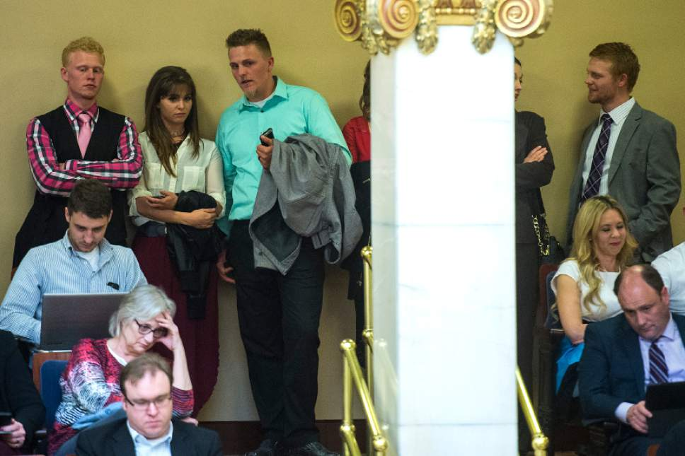 Chris Detrick  |  The Salt Lake Tribune Kyler Henderson, Kayla Henderson, Lance Henderson and Nick Henderson listen during Senate Floor Time at the Utah State Capitol Thursday March 9, 2017.