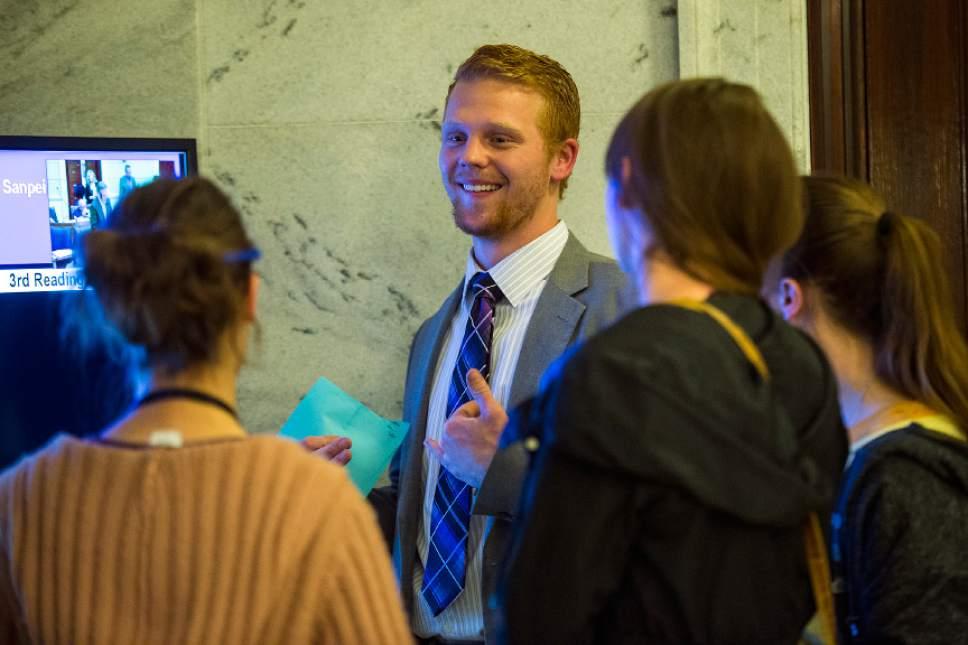 Chris Detrick  |  The Salt Lake Tribune Nick Henderson looks at the Senate calendar during Senate Floor Time at the Utah State Capitol Thursday March 9, 2017.