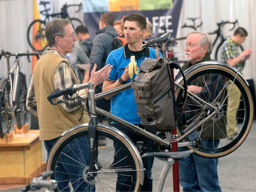 Al Hartmann  |  The Salt Lake Tribune Folks check out a Metrea bicycle designed for urban riding at the 2017 North American Handmade Bicycle Show at the Salt Palace Convention Center Friday March 10. It's the largest and oldest handbuilt bicycle show in the world where ideas and innovation come together to promote custom bicycles and the companies that support the market.  It's the show's first time in Utah. The event runs Friday, March 10, to Sunday, March 12.